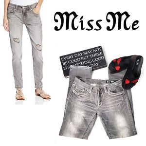 MISS ME Gray Distressed Silver Stud Jeans